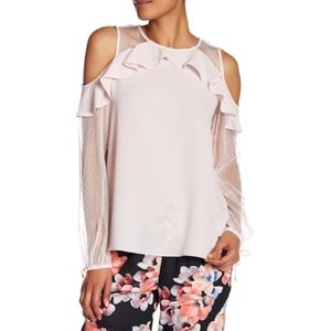 CeCe Cold Shoulder Ruffle Sweater Iced Blush